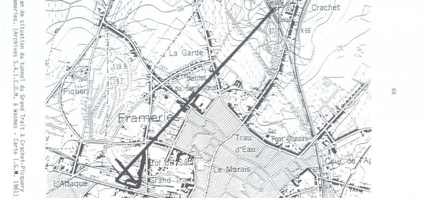 Le tracé du tunnel. En haut à droite, l'entrée côté Crachet.