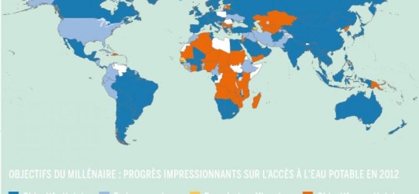 Dernière carte du monde de l'accès à l'eau (ONU).