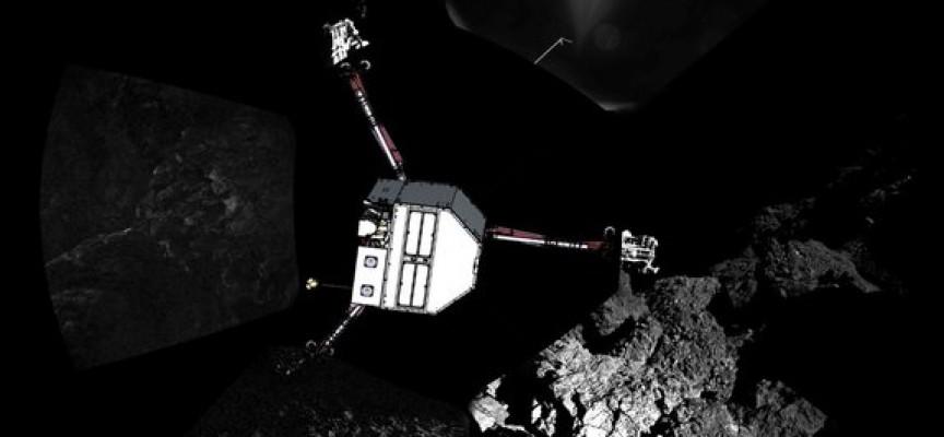 Le robot Philae arrive sur la comète (ph.ESA).