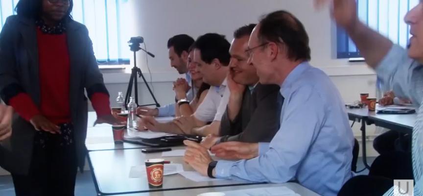 Présentation du projet devant un jury essentiellement masculin...