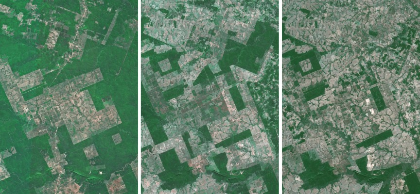 3 clichés témoignant de l'évolution de la forêt amazonienne (1986, 1998, 2005) © CNES.