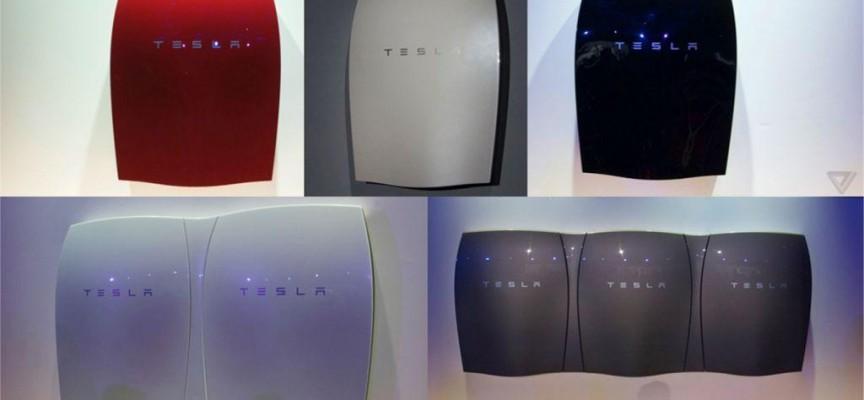 Des batteries domestiques design (ph.Tesla).