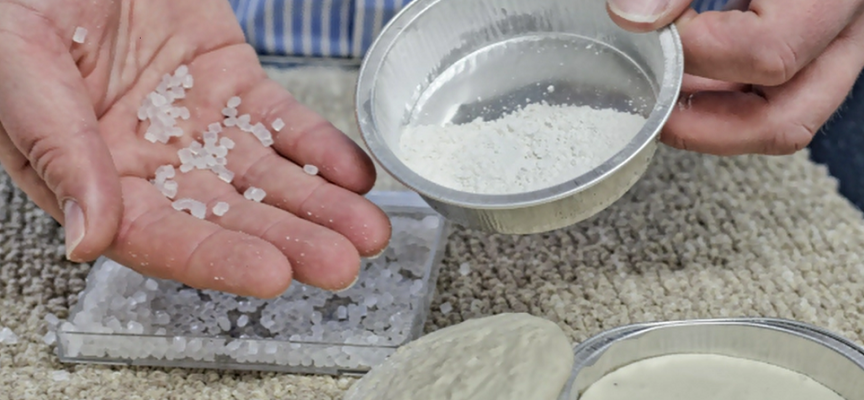 Matière première : les résidus de carbonate de calcium des compagnies des eaux locales!